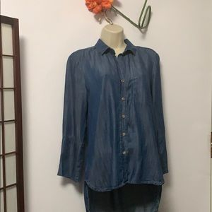 CLOTH & STONE CHAMBRAY HIGH LOW V NECK SZ S